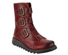 FLY London Leather Ankle Boots w/ Buckles - Scop Red Women's EU 36 US 5 NEW