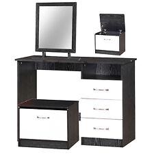 High Gloss White & Ash Black   3 Drawer Desk + Mirror + Ottoman Storage Toy box
