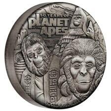 Tuvalu 2 Dollar 2018 - 50 Jahre Planet der Affen 2 Oz Silber Antik Finish in Box