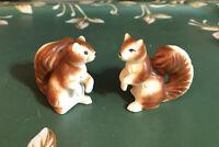 Vintage 2 Squirrel Figurine Set Bone China Japan