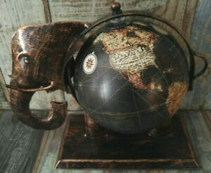RECYCLED IRON ELEPHANT GLOBE WITH WORLD MAP 20 CM BLACK FINISH FAIR TRADE