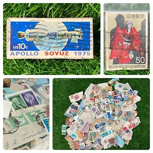 STAMPS Starter Pack Mystery Pack 100+ Stamps Lot Apollo Soyuz Historical Vintage