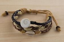 Bracelet cuir Oeil de Sainte Lucie et Cauris - Shiva - wrap -noir marron 1015 D1