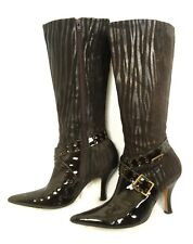 Andrea Brown Zebra Print Suede - Patent Leather Pointy Toe Tall Boots 5.5 Buckle