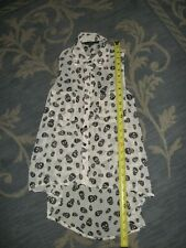 Womens Skull Shirt Size XS SHEER SLEEVELESS BLOUSE VEST BUTTON UP WITH COLLAR