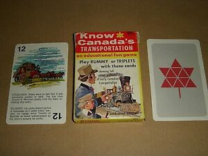 VINTAGE CHILDS CARD GAME KNOW CANADAS TRANSPORTATION - RUMMY TRIPLETS - 39cents