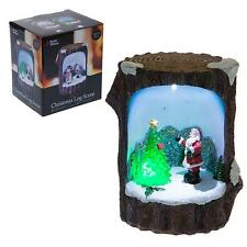 Christmas Decoration Fibre Optic Log Scene 523018 - Santa