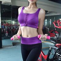 Women Sport Bra Running Gym Yoga Padded Fitness Tops Tank Workout Zipper Bra