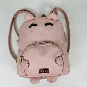 Luv Betsey By Betsey Johnson Kitty Cat Backpack Purse bag Pink Gold Stripe