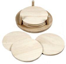 6 bemalbare Untersetzer aus Holz im Halter Holzscheiben zur Tischdeko