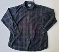 LL Bean Green/Blue Plaid Large Tall Flannel Men's Button Shirt * Free Shipping