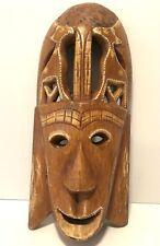 "Vintage Hand Carved Teak Wood Wall Hanging Tribal Mask 15.5"" x  6.5"""