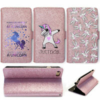 HAIRYWORM FUNNY UNICORNS ON ROSE PINK LEATHER GLITTER WALLET FLIP PHONE CASE