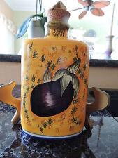 Hand Painted Giacomini Orvieto egg plant design large oil bottle w/ cork stopper