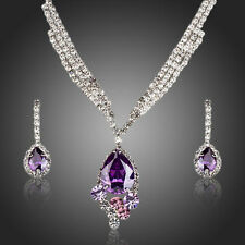 Purple Cubic Zirconia Necklace and Earrings Set Bridal Set Mother of the Bride