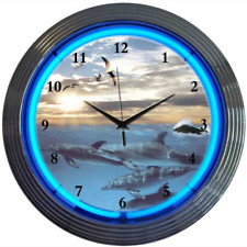 "Dolphins at Sea Ocean Blue Neon Hanging White Clock 15"" Diameter 8DOLPH"