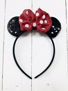 Minnie Mouse Style Sparkly Ears Headband Disneyland Red And White Spotty Bow