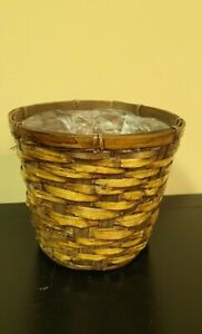 "Vintage Rattan Basket Boho Cottage Farmhouse  Planter 7"" LINED w/ Plastic"