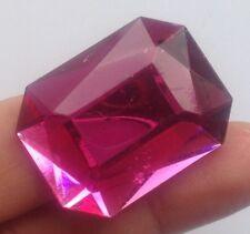 broche bijou vintage rectangle résine couleur rose facette effet pierre 575