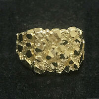 Men's Large Nugget Square Ring Custom Fancy Solid 10K Yellow Gold