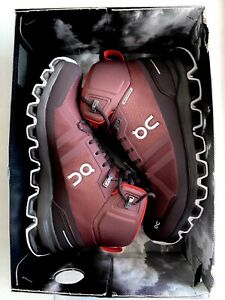 ON Cloud Cloudrock Waterproof Mid Hiking Trail Boots Shoes Cocoa/Red NIB No Lid