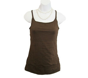 Brown GOLD Tank Top Size M Medium Shirt FLEXEES Camisole Support Striped Layer