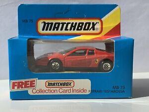Matchbox MB75 Ferrari Testarossa Mint Unopened Box.