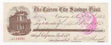 1883 The Carson City Savings Bank Check