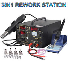 853D 3 in 1 Soldering ReWork Station Solder Iron SMD Hot Air Gun DC Power Supply