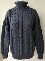 McDevitt 1846 Cork Ireland JUMPER XS UK8/10 100% wool blue chunky cable knit