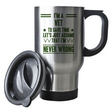 Green Never Wrong Vet Funny Gift Idea Silver Travel Mug work 225