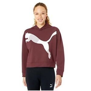 PUMA Women's Modern Cat Logo Graphic Sport Hoodie Sweatshirt Pullover Purple M