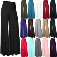Fittoo Women Office Loose Stretch High Waist Wide Leg Long Pants Palazzo Trouser