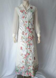 BEAUTIFUL BOHO BUTTERFLY PRINT Vintage Alfred Shaheen MAXI DRESS GOWN M/L