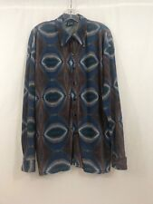 EUC VTG Charles Lapson Positano LS Shirt Button front Disco Stretch/Crinkle Lrg