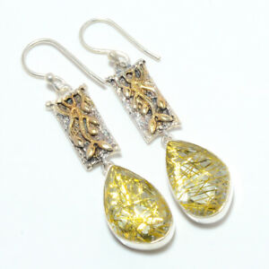 """Golden Rutilated Quartz 925 Sterling Silver Two Tone Gold Plated Earring 2.11""""E3"""