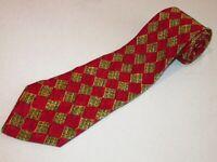 Ermenegildo Zegna Tie Ruby Red Green Gold Check Square Woven Luxury Italian Silk
