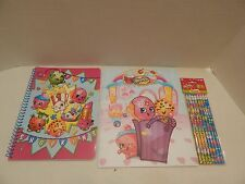 Shopkins School Supplies - 3 Items: Spiral Notebook, Folder, 8 Pack Pencils