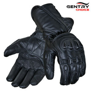 RIDERACT Mens Leather Motorcycle Gloves Black Summer Winter Waterproof Full Cuff