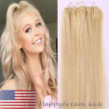 100 Micro Ring Bead Loop Tip Real Remy Human Hair Extensions Medium Blonde18inch