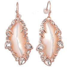 De Buman 18k Rose Gold Plated Mother-of-Pearl & Crystal Women Dangle Earrings