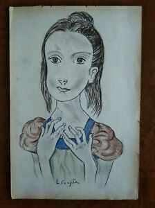 LEONARD  FOUJITA       DRAWING SIGNED  CHARCOAL  ON OLD PAPER OF THE 30s