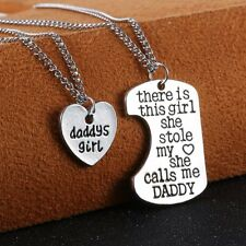 2PC Silver Heart Dog Tag Daddys Girl Chain Necklace Pendant Valentine's Day Gift
