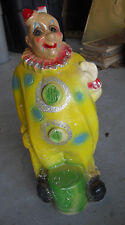 """Vintage 1930s Large Chalkware Clown Bank 13"""" Tall"""