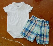 GYMBOREE  Infant Baby Boy WHITE POLO BODYSUIT & PLAID SHORTS 12-18M BRAND NEW