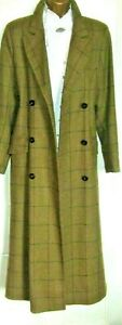 REALLY WILD Ankle length Tweed Coat 12 UK Green/ golden brown - Windowpane check