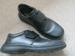 Pavers Mens UK Size 10 Black Leather Touch Fasten Shoes VGC