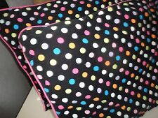 POTTERY BARN TEEN LICORICE BLACK PINK AQUA CORDUROY (PAIR) STANDARD PILLOW SHAMS