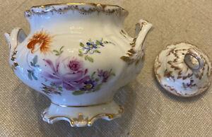 Dresden Lidded Sugar Bowl Floral Pattern Gold Gilding German Porcelain RK