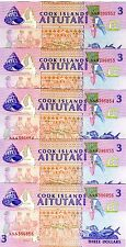 New listing Lot, Cook Islands, 5 x $3, 1992, P-7, Unc > Native Dancers